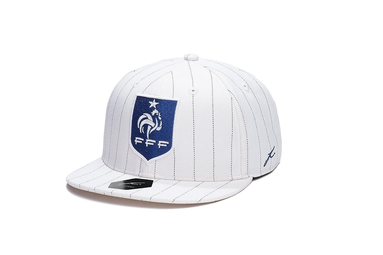 フランス語FootballフェデレーションfiコレクションスナップバックFlatbillサッカー帽子 B01BS7QOH6  White/Blk Pin