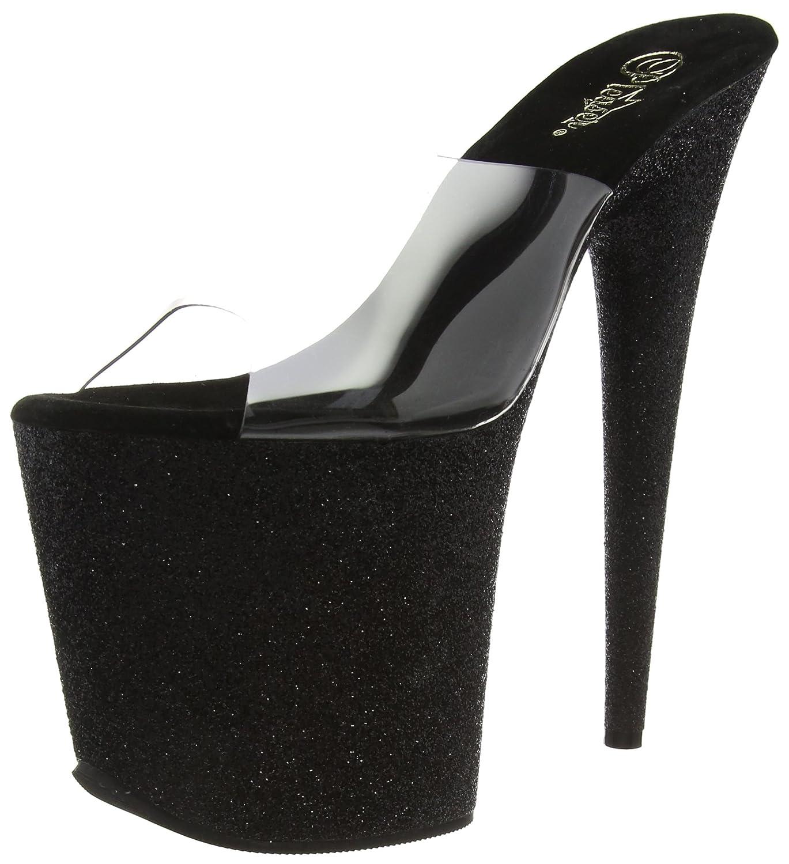 Pleaser Women's Flamingo-801SDG/C/BG Platform Sandal B00W9ENQ4W 12 B(M) US|Clear, Black Matte