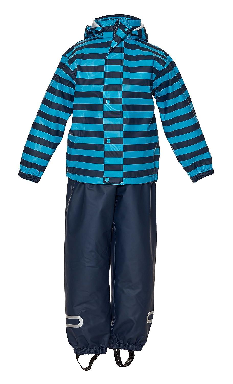 Ragazzo Marine Camicia Pantaloni Impermeabili Sconosciuto Unknown Helblau Gestreift 4 Anni
