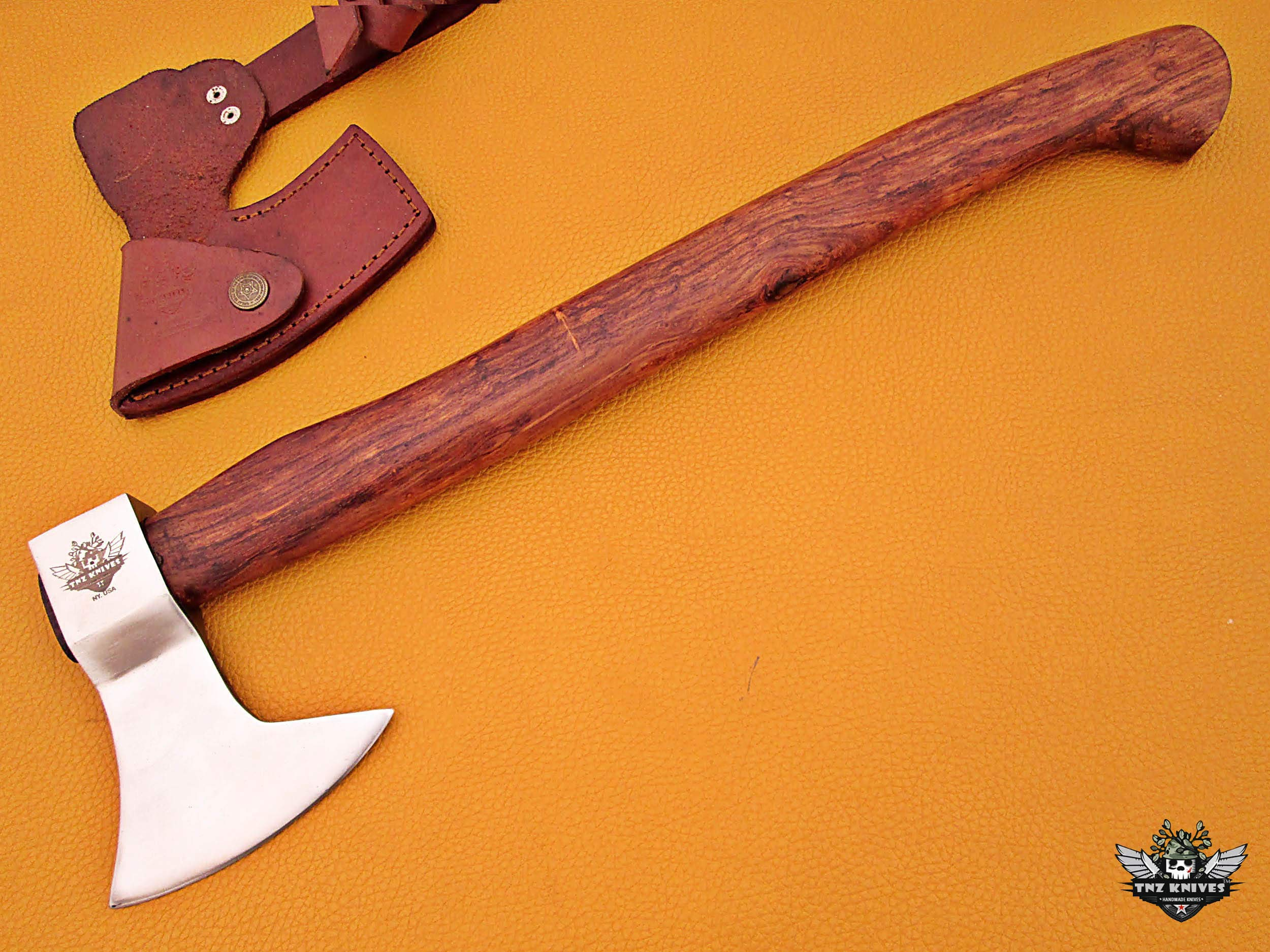TNZ-611 High Carbon Axe 18 Long Hunting Camping Axe High Carbon Hatchet Viking Long Bearded Axe Leather Cover TNZ Hand Made High Carbon Knives