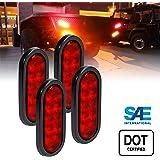 ONLINE LED STORE 4pc 6 Inch Oval LED Trailer Tail Lights - RED Turn Stop Brake Trailer Lights for RV Trucks (DOT Certified, Grommet & Plug Included)