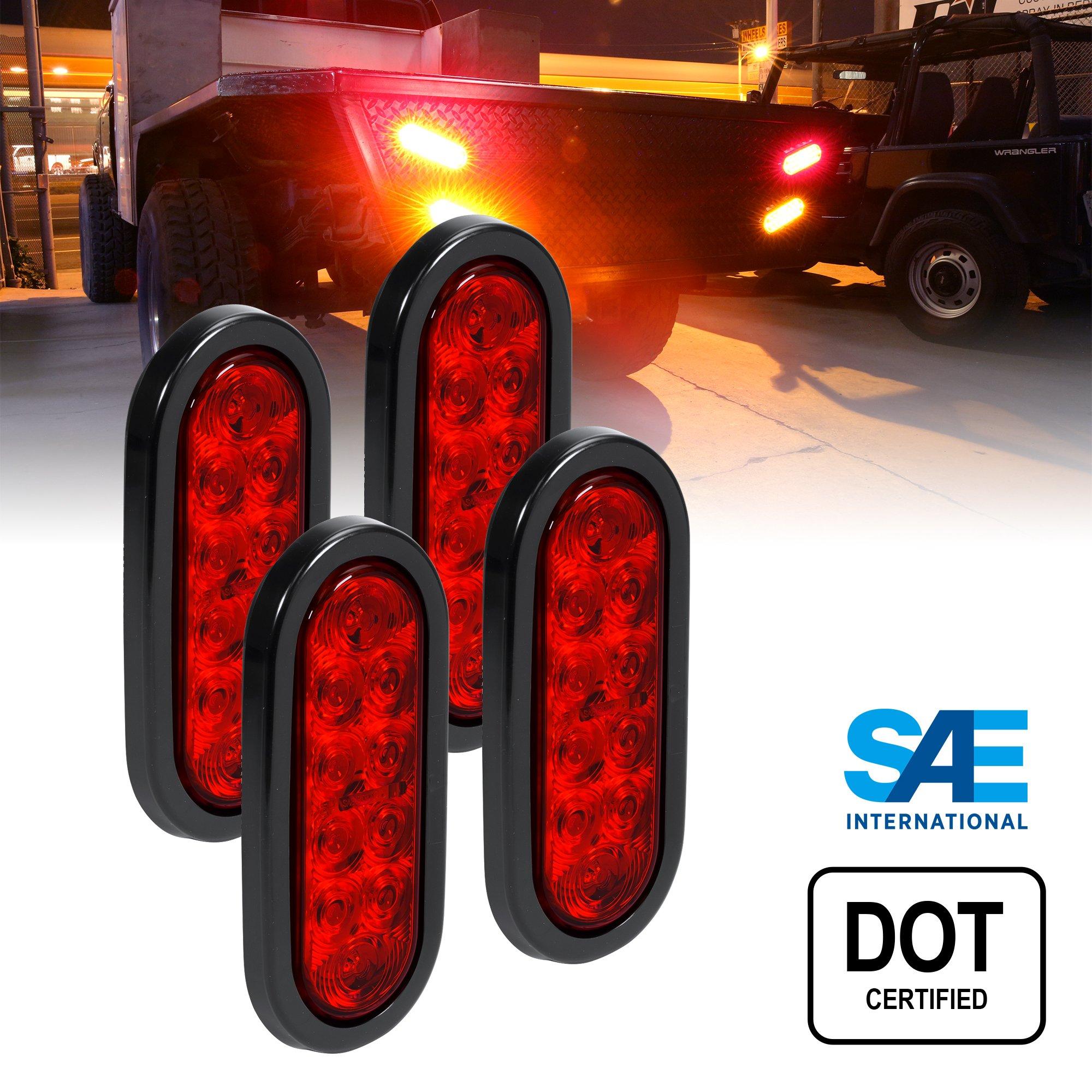4pc 6 Inch Oval LED Trailer Tail Lights - RED Turn Stop Brake Trailer Lights for RV Trucks (DOT Certified, Grommet & Plug Included)