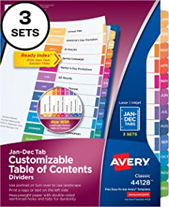 Avery 12-Tab Dividers for 3 Ring Binders, Customizable Table of Contents, Multicolor Tabs, 3 Sets (44128)