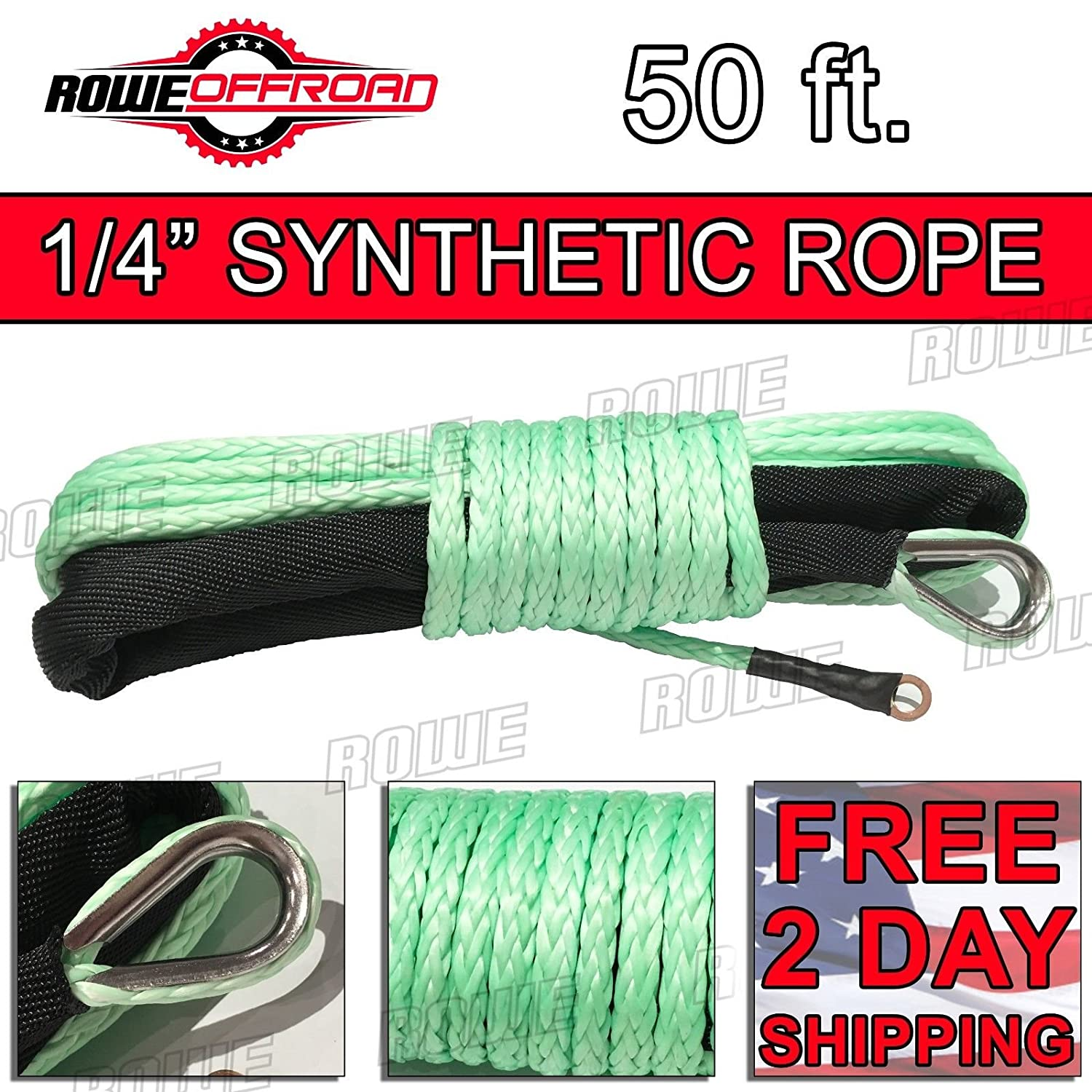 Rowe Offroad 1/4' x 50' Synthetic Winch Line Rope (ATV/UTV) (Green) RO-1450