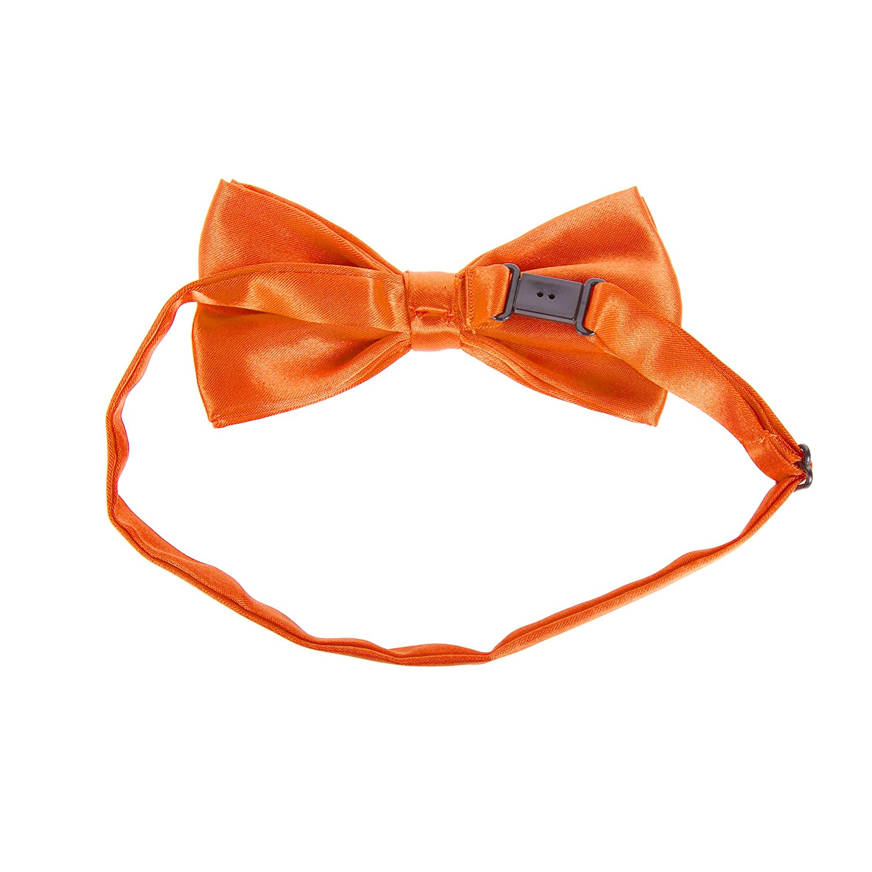 The Tie Co/™ Childrens Pre-tied /& Adjustable Satin Solid Colour Classic Plain Bow Tie Kids Orange