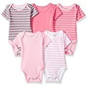 Hanes Ultimate Baby Flexy 5 Pack Short Sleeve Bodysuits, Pink Stripe, 0-6 Months