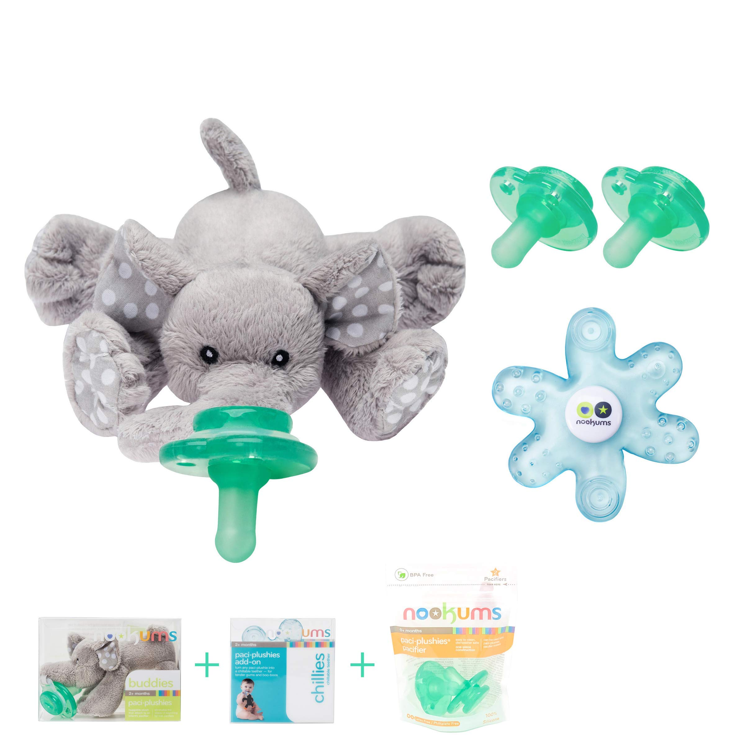 Nookums Paci-Plushies Elephant Baby Gift Set - Pacifier Holder, Teether and Replacement Pacifier 2 Pack (Plush Toy Includes Detachable Pacifier, Use with Multiple Brand Name Pacifiers) by Nookums