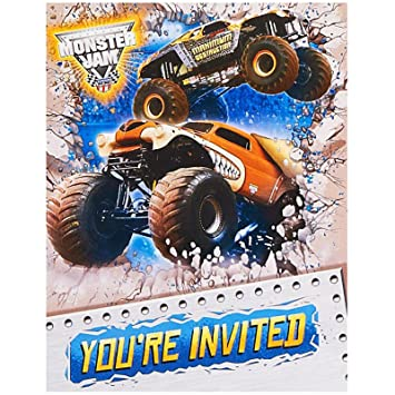 Amazon Com Monster Jam Party Supplies Invitations 8 Toys Games