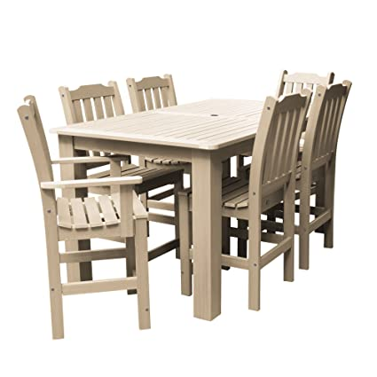 Highwood AD ST7LH2CO4BA TAU Lehigh 7 Piece Rectangular Counter Height  Dining Set 72u0026quot