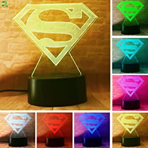 New DC Legends Superman Logo Symbol Controler 7 Color Dimming Gradient Action Figure Table Bedroom Decor Child Man Boys Xmas Kids Xmas Birthday Holiday Toy Gifts (Superman Symbol)