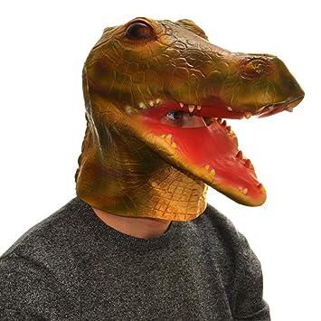 Overhead máscara de látex de goma de cabeza completa de piel de cocodrilo disfraz Halloween Accesorio