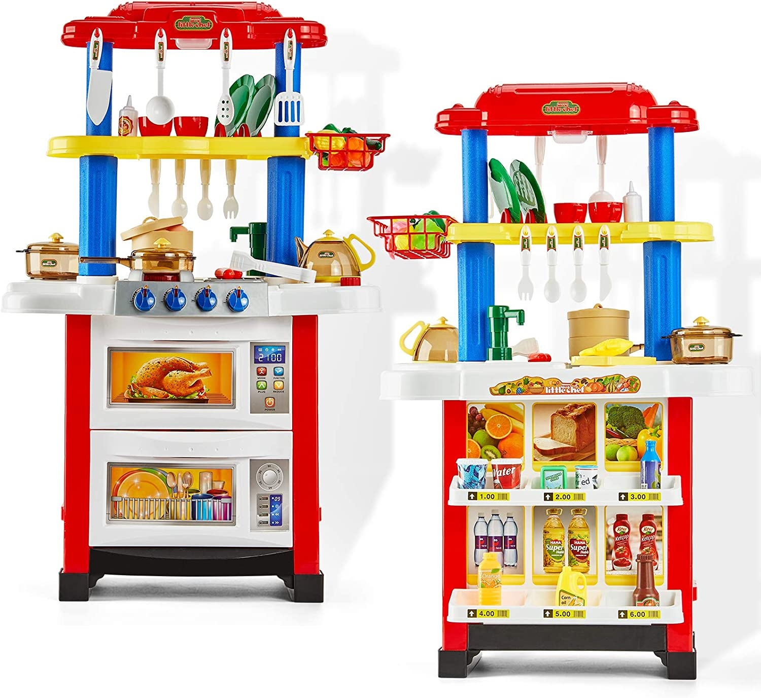 Play Kitchen Set for Kids Double Sided Kids Kitchen Set and Vending Machine with Spray Lights Sounds Effect Washing Machine Toys for 3 Year Old Girls Birthday Gifts Toys for 4 5 Year Old Girls Boys