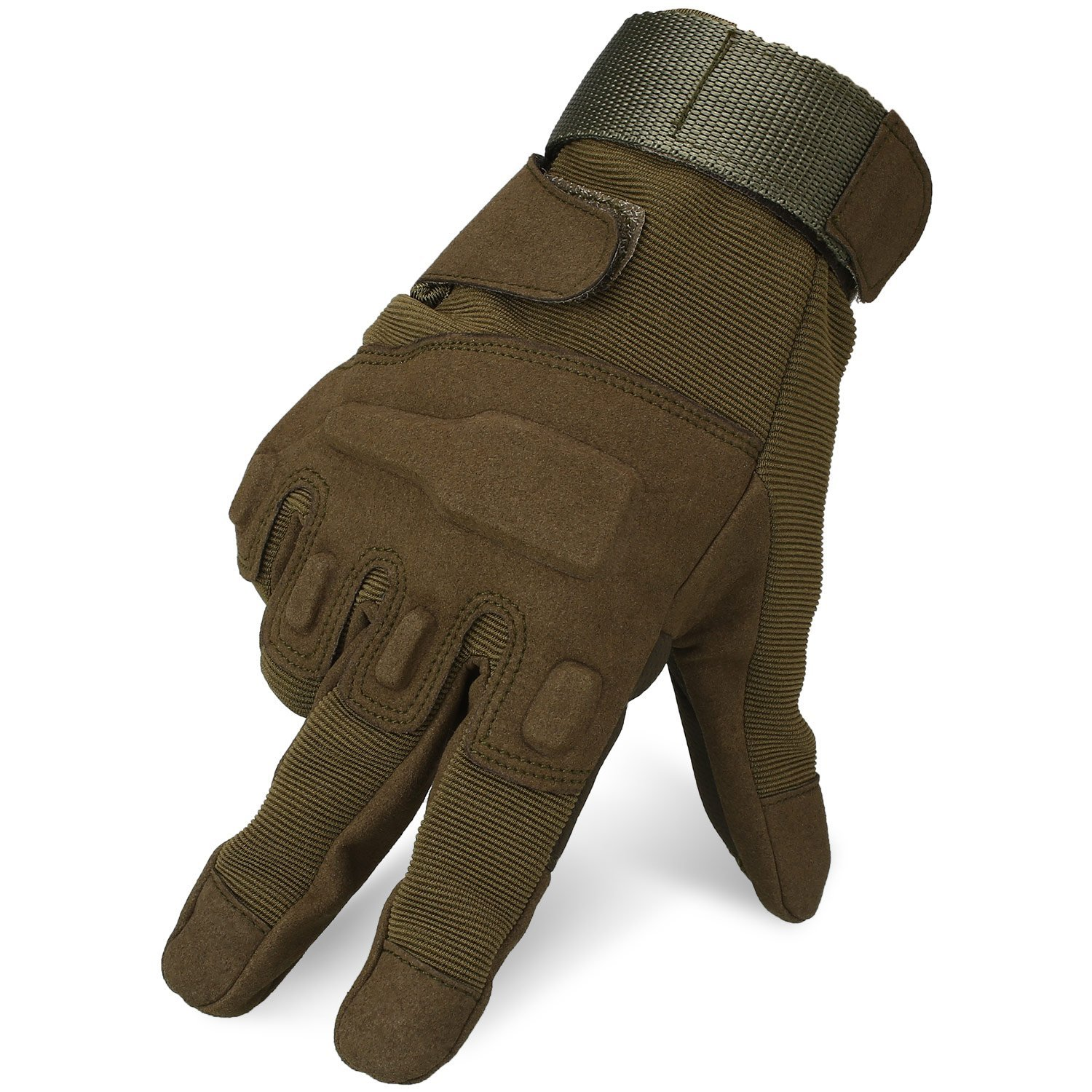 Cido Reinforced Tactical Gloves Outdoor/Fahrrad/Shooting/Driving with Adjustable Velcro (Amy Green(XL))