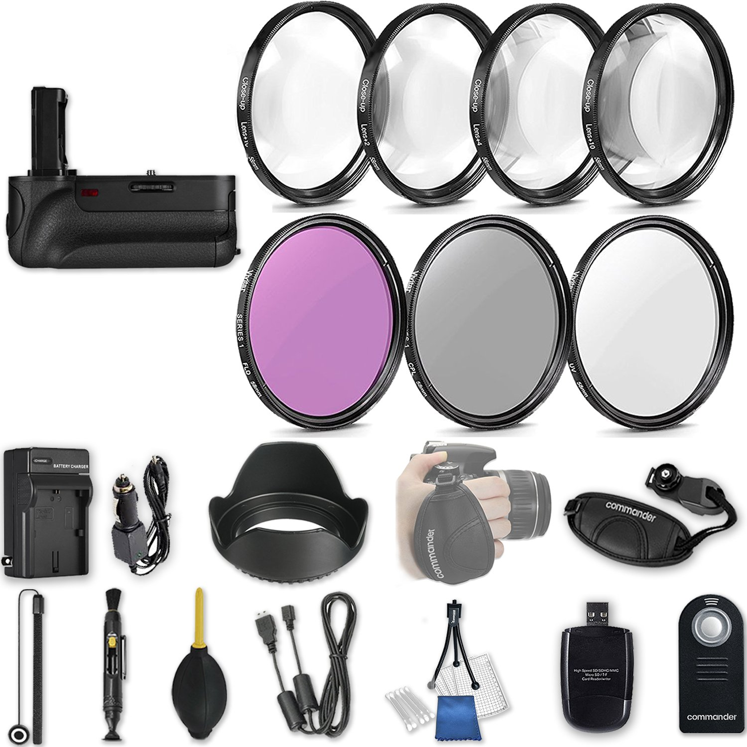 58mm 21 Pc Accessory Kit for Canon EOS T6i, T7i, 77D, T6s, 750D, 800D, 760D DSLRs with Battery Grip, UV CPL FLD Filters, & 4 Piece Macro Close-Up Set, and More by 33rd Street