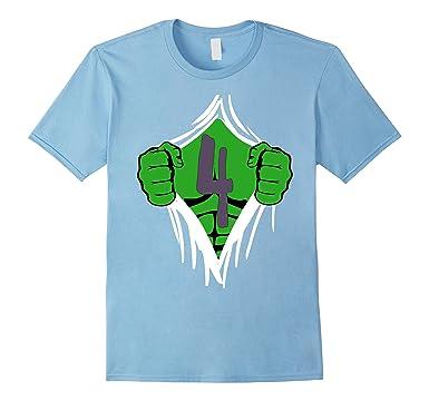 Mens Green Man Chest Superhero Birthday Shirt For 4 Year Old Boys 2XL Baby Blue