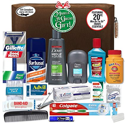 Convenience Kits Men's Premium 20 Count Necessities Travel Kit, Featuring: Dove Men & Care Products best men's stocking stuffers
