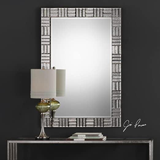 Mid Century Modern Mirror Framed Wall Mirror | Geometric