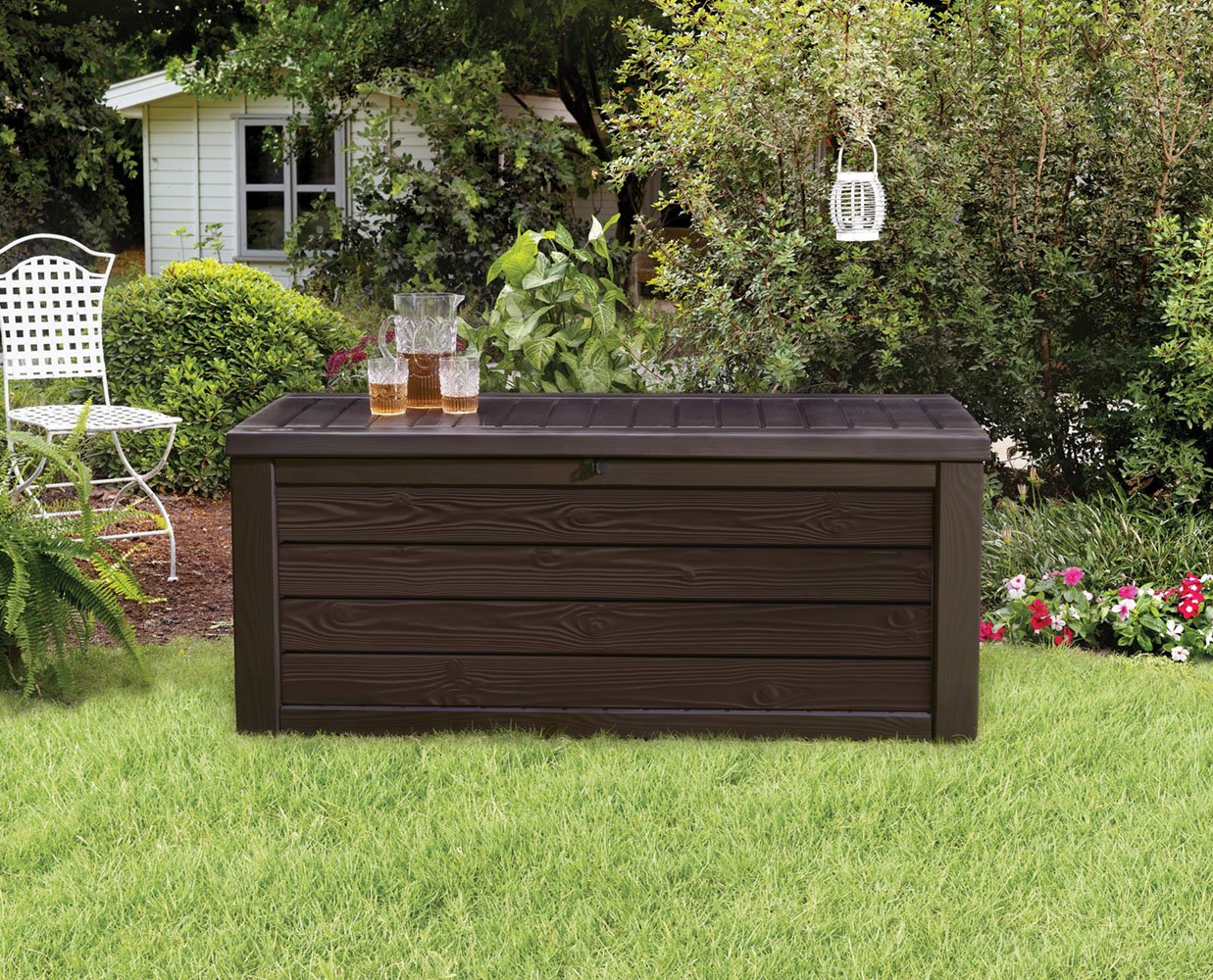 Keter Westwood Plastic Deck Storage Container Box Outdoor Patio Garden  Furniture 150 Gal Deck Boxes Brown Patio, Lawn & Garden Outdoor Storage