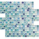 Beaustile Mosaic 3D Wall Stickers 4 Sheets Home Decor Blue Art Fire Retardant Backsplash Wallpaper Bathroom Kitchen DIY