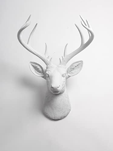 White Faux Taxidermy X Large Deer Head Wall Mount, The XL Templeton Deer Wall Mount Sculpture Fake Animal Head