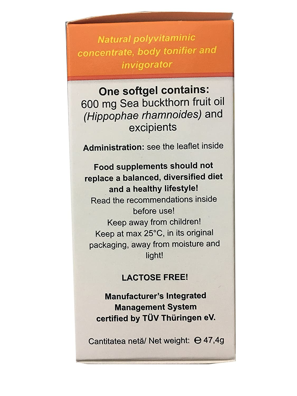 Aceite de Argousier 600 mg, antioxidante, detoxyant & immunostimulant, Renforce la Sante para la Saison fría, 60 Cápsulas, aceite prensado en frío (...