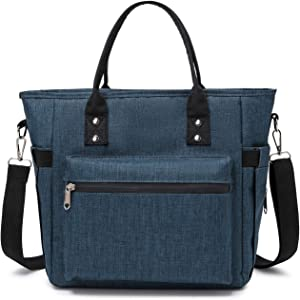 Lunch Bag Reusable For Women Thermal Food Storage Tote Bags Water Resistant Ice Cooler with Long Shoulder Strap Big Volume Lunch Boxes For Men Adult Picnic Working Outing (Navy)
