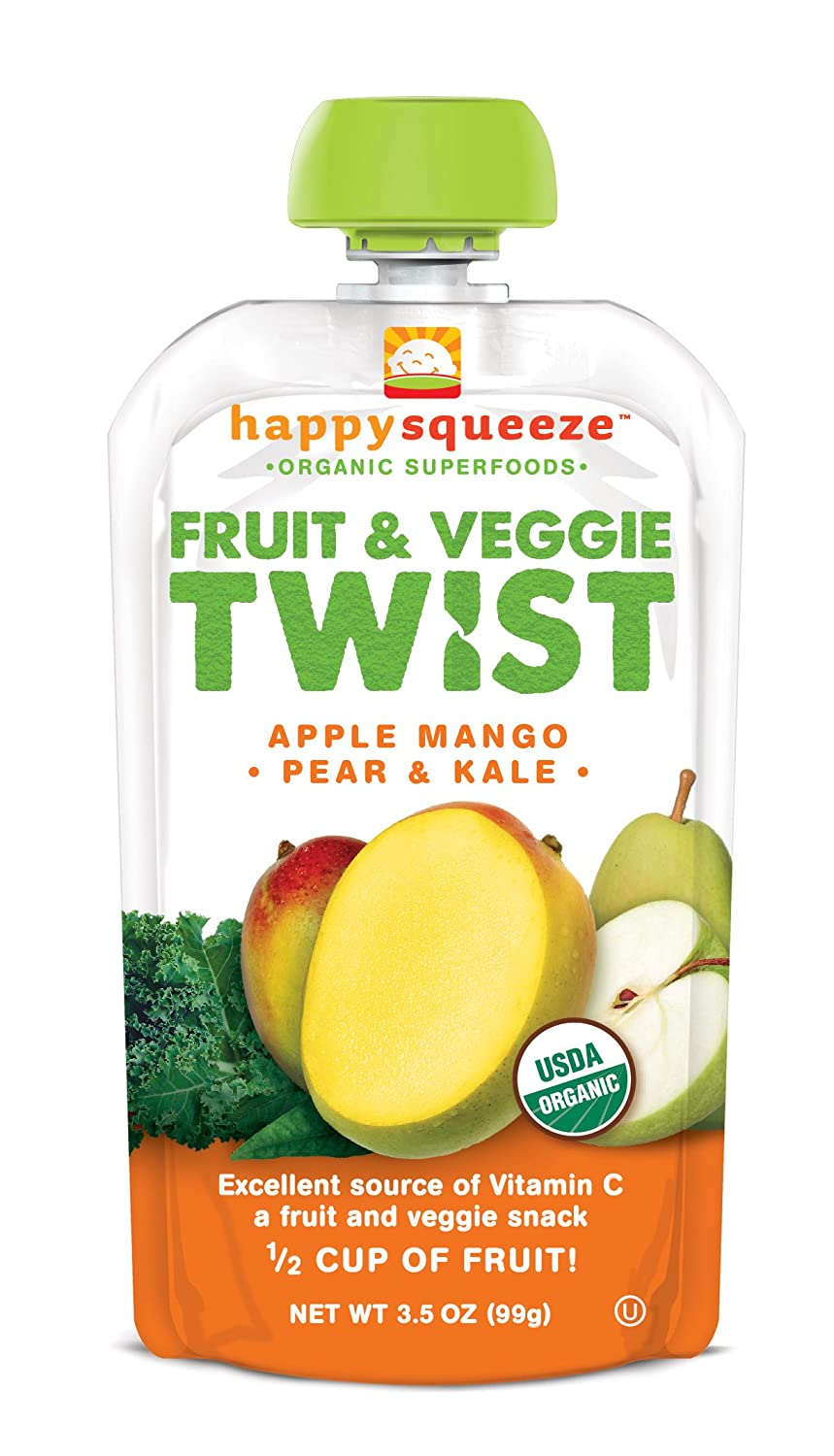 happy squeeze organic snacks twist apple mango pear u0026 kale 3 5