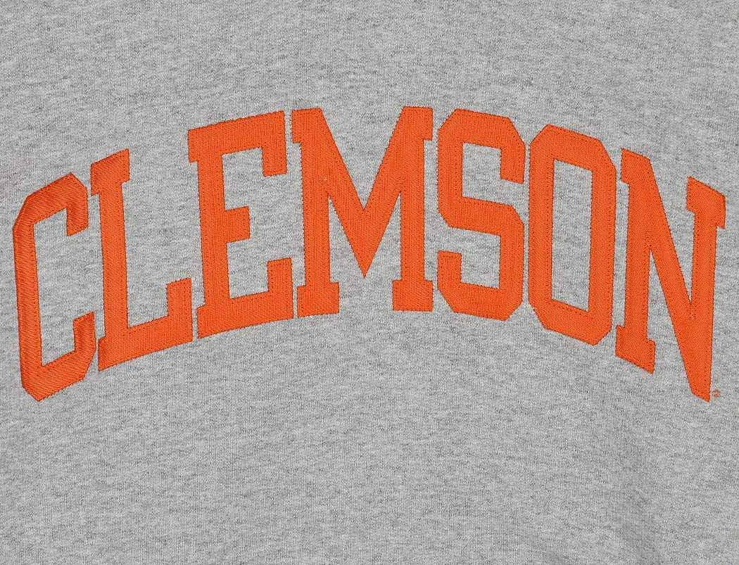 Champion NCAA Mens ECO Power Blend Hooded Sweatshirt with Tackle Twill Embroidered Lettering-Classic Heather Grey