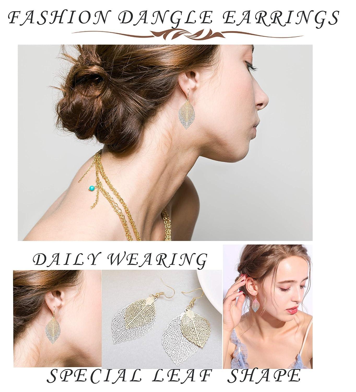 Hanpabum 3 Pairs Filigree Leaf/Dangle Earrings for Women Girls Hollow Teardrop Drop Earrings Set Lightweight Ethnic Bohemian Jewelry