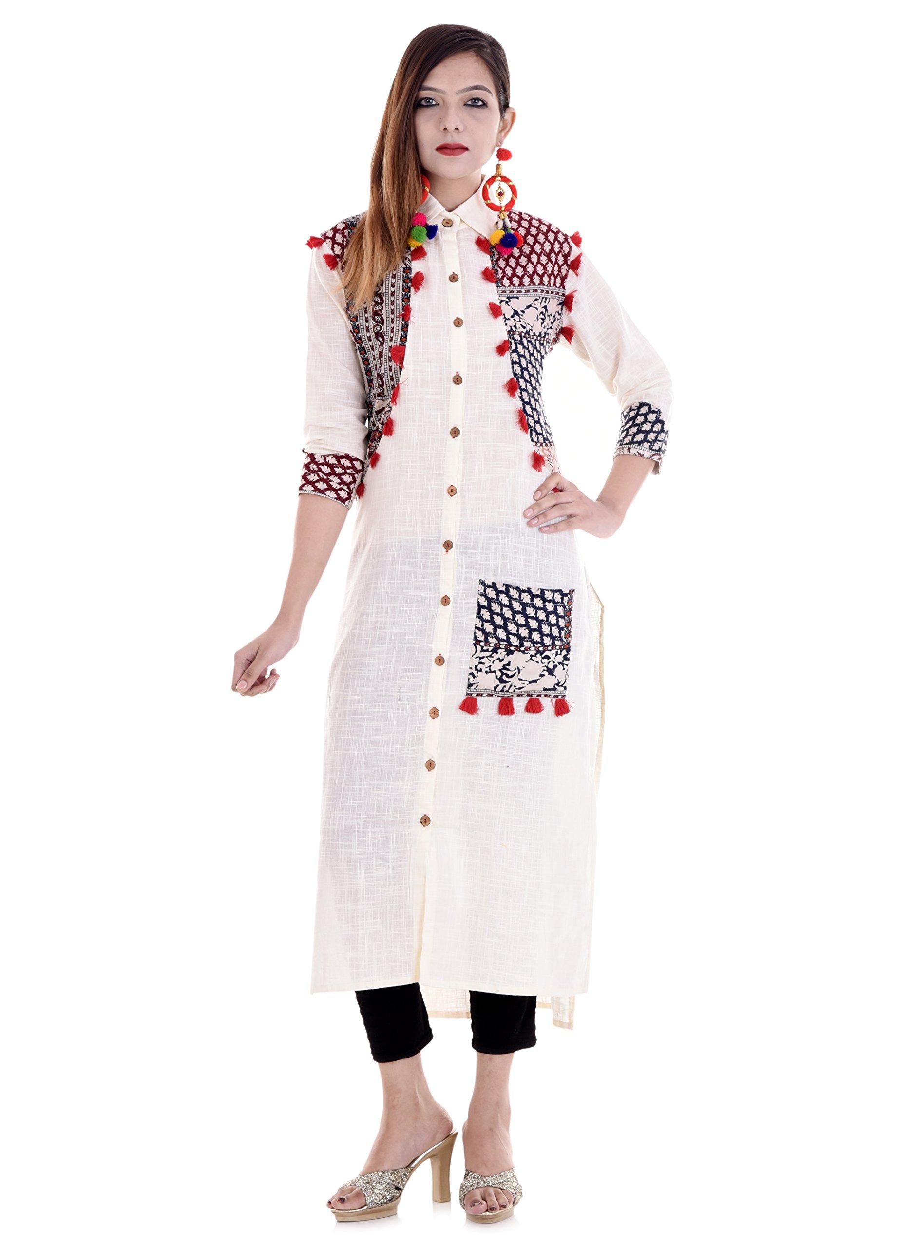 Vihaan Impex Kurtis for Women Kurtas for Women Indian White Color Kurti for Women by Vihaan Impex