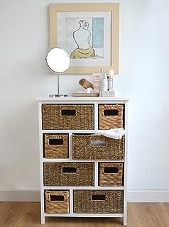 Tetbury Large White Storage Chest Of Drawers. Sturdy White Basket Storage  Unit. Bathroom,