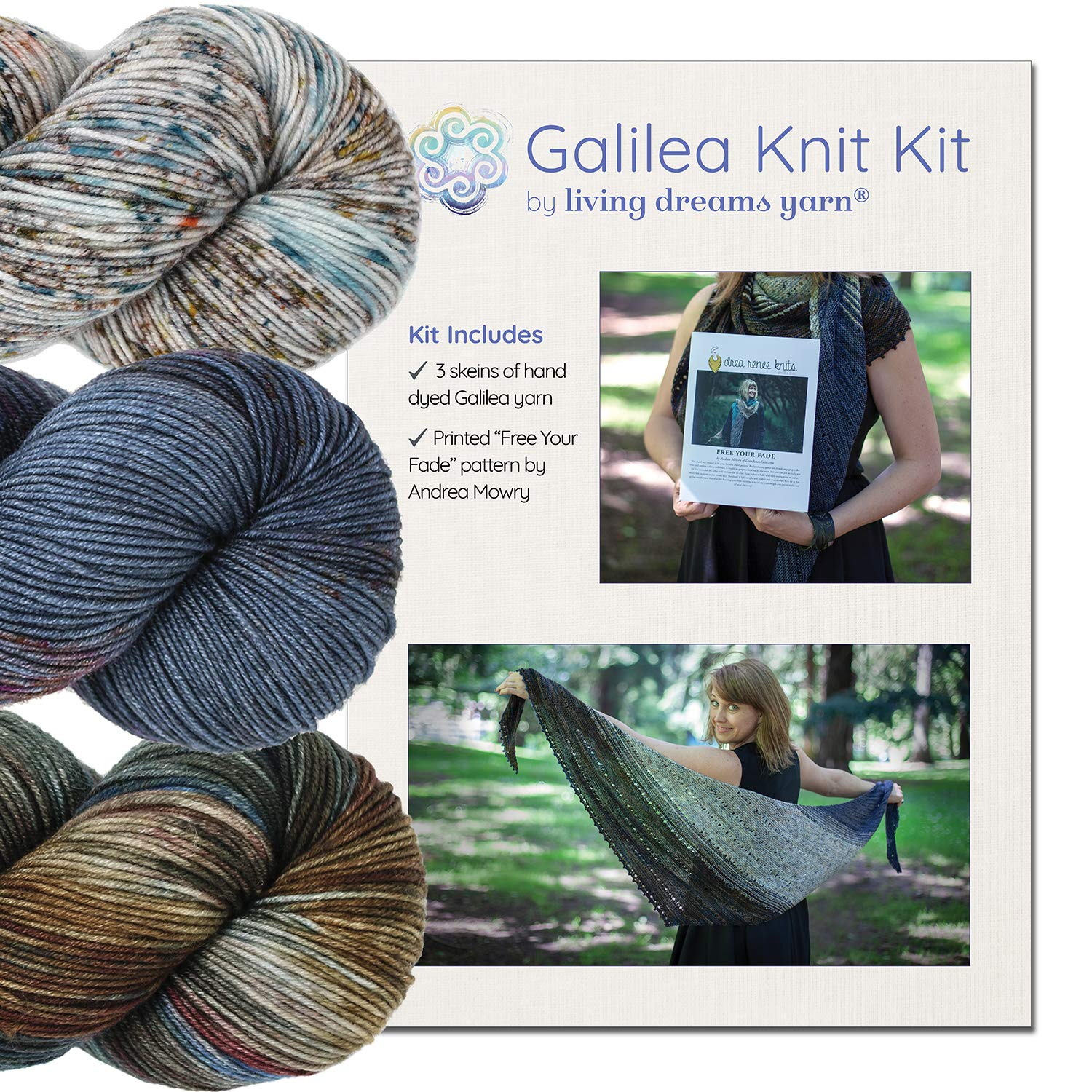 GALILEA SHAWL KNIT KIT Includes Three Complementing Skeins of Hand Dyed SuperWash Merino Yarn + Famous Free Your Fade Knitting Pattern. Shawl Kit: Andromeda