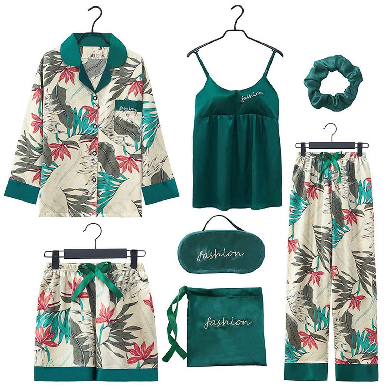 COLOR 3 Youthern 2019 Women 7 Pieces Pajamas Sets Stain Faux Silk Pajamas Women Sleepwear Sets