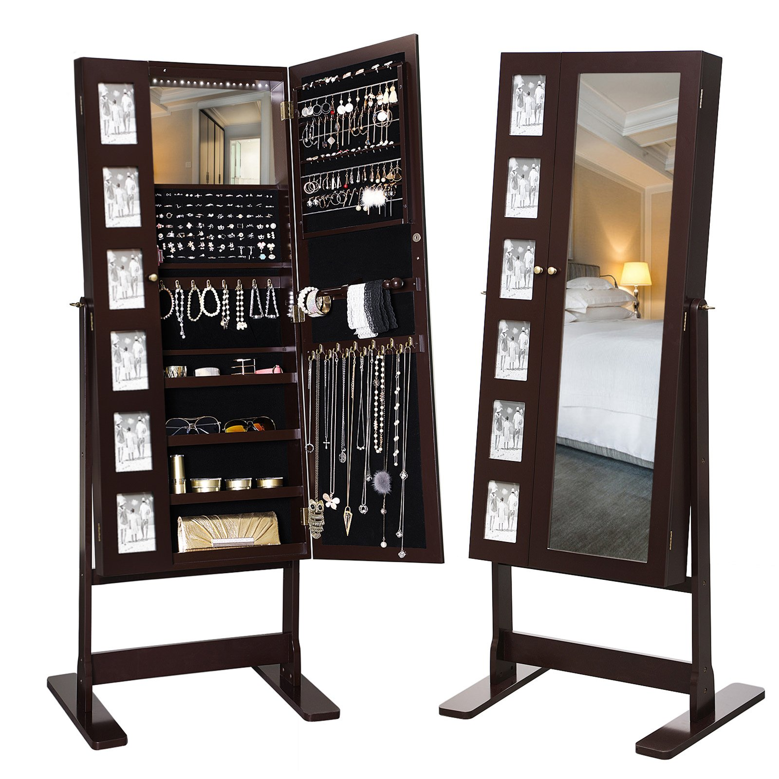 SONGMICS 18 LEDs Jewelry Cabinet Mirrored Standing Jewelry Armoire Organizer with 6 Photo Frames Brown UJJC92K