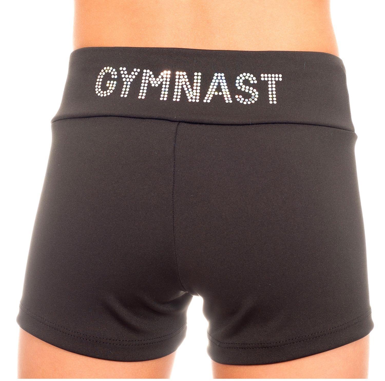 TumbleWear GYMNAST Applique Shorts (XL-Child 14-16, Black)