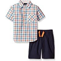 Nautica Little Boys' Two Piece Short Sleeve Plaid Shirt with Pull On Shorts