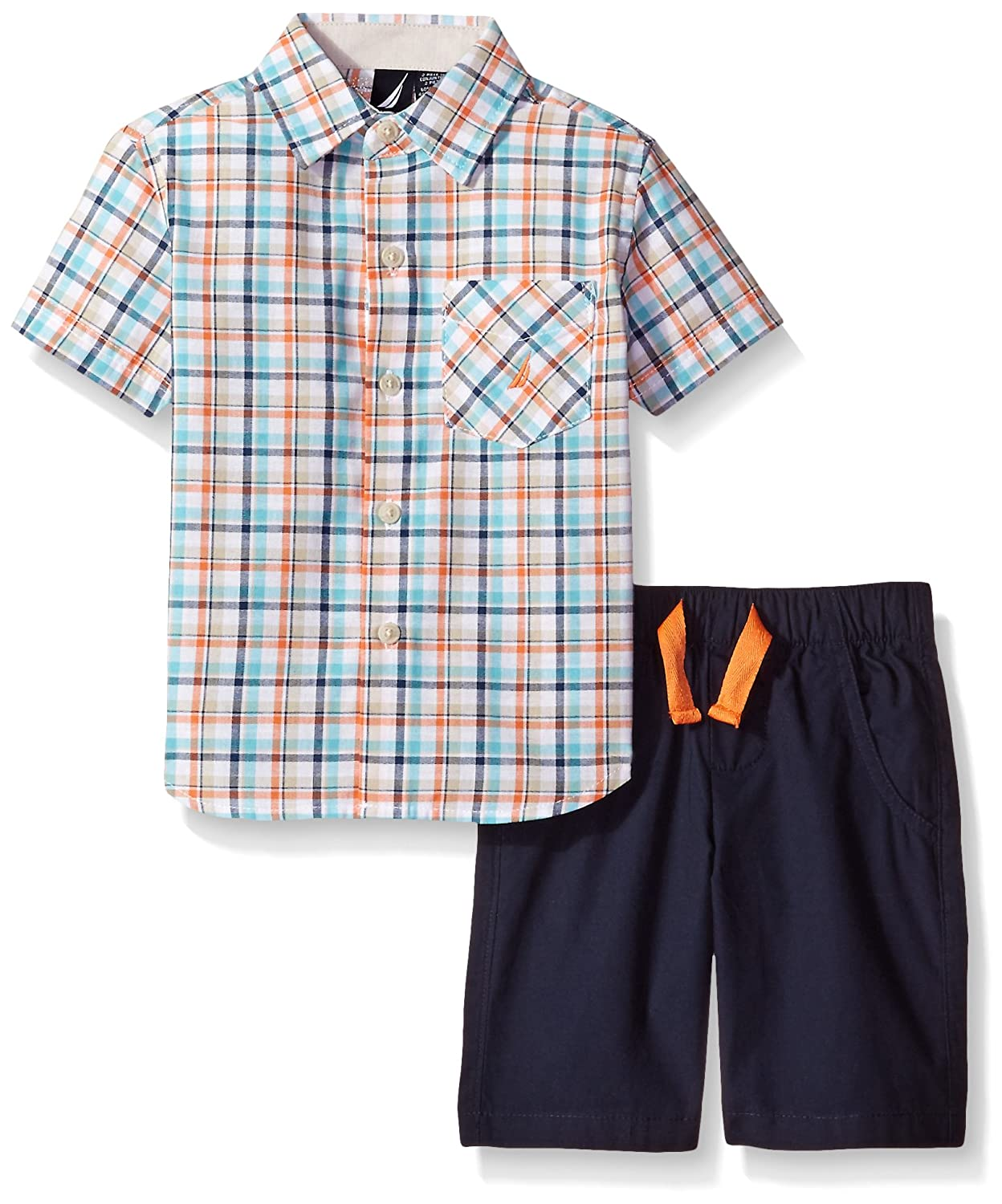 Nautica Little Boys' Two Piece Short Sleeve Plaid Shirt with Pull On Shorts 30C10Q