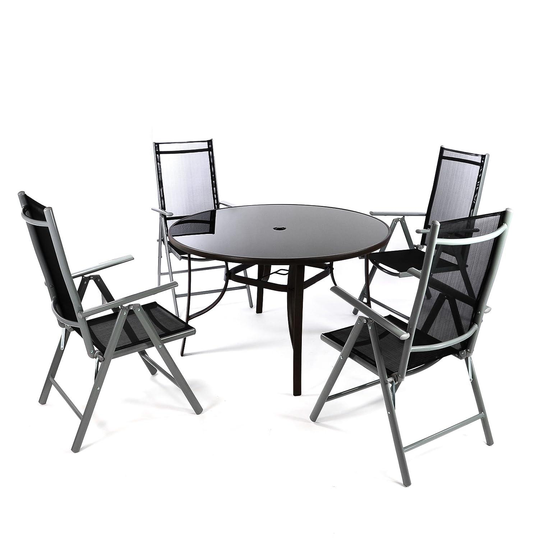 5er Set Sitzgruppe mit Glastisch Ø 120 cm Klappstuhl schwarz ...