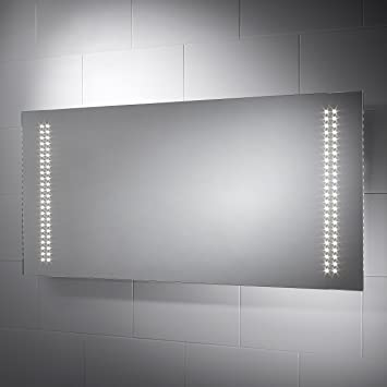 Pebble Grey Large Rectangular Skyline LED Illuminated Bathroom Mirror With Lights Size 1250mmW