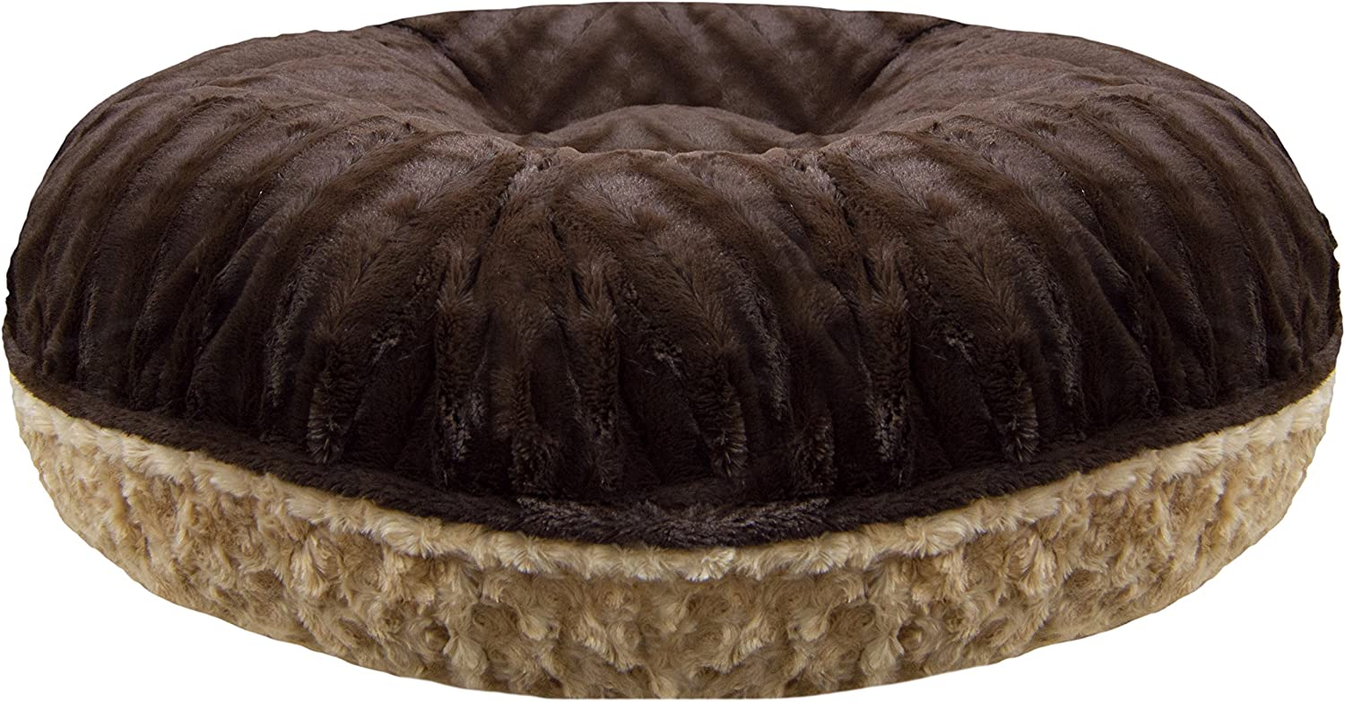 BESSIE AND BARNIE Signature Camel Rose Godiva Brown Extra Plush Faux Fur Bagel Pet Dog Bed Multiple Sizes
