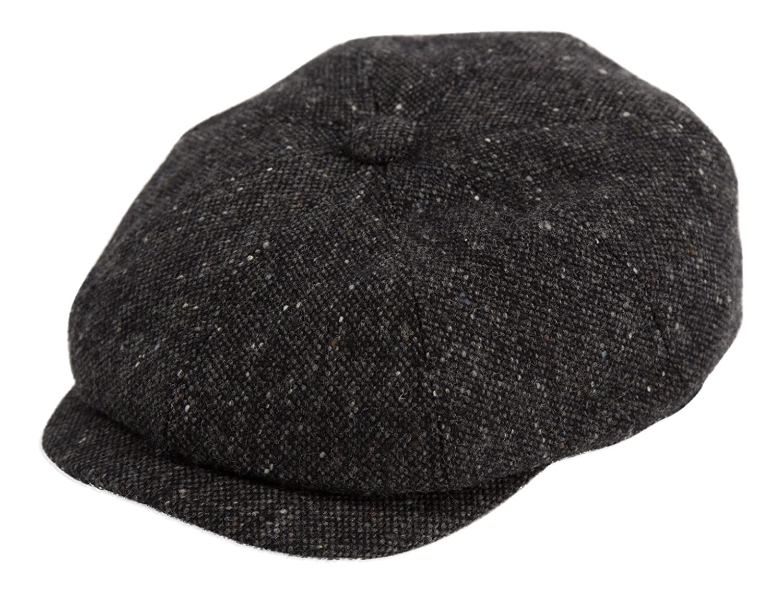 Gamble /& Gunn Ardura 100/% Wool Donegal Tweed 8 Panel Button Top Cap