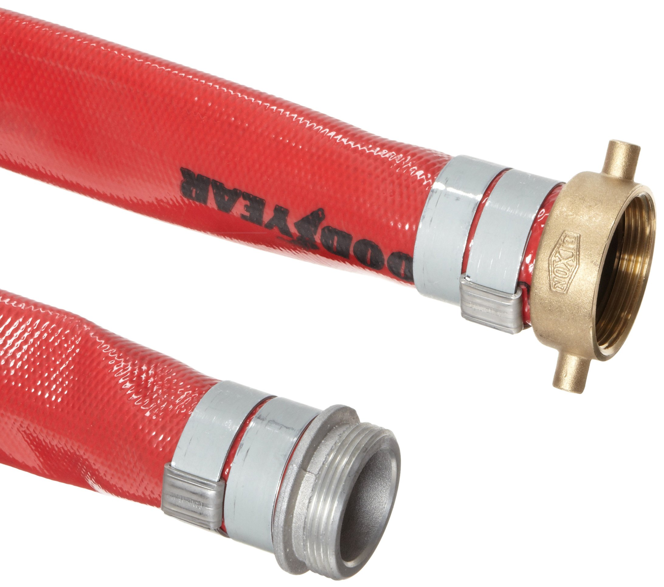 Goodyear EP Spiraflex Red PVC Suction/Discharge Hose Assembly, 2'' Aluminum NPSH Male x Brass Female Swivel Connection, 150 PSI Maximum Pressure, 25' Length, 2'' ID by Goodyear Engineered Products