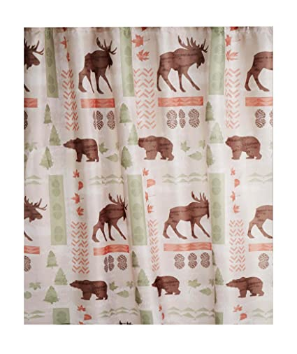 Image Unavailable Not Available For Color Wilderness Fabric Shower Curtain Wildlife Bear Moose Design