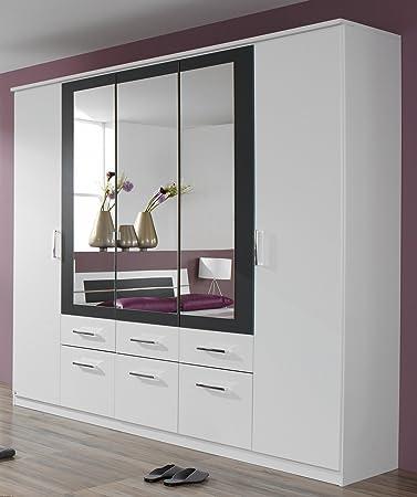 rauch Kleiderschrank Burano mit Spiegel, weiß/grau-metallic weiß ...