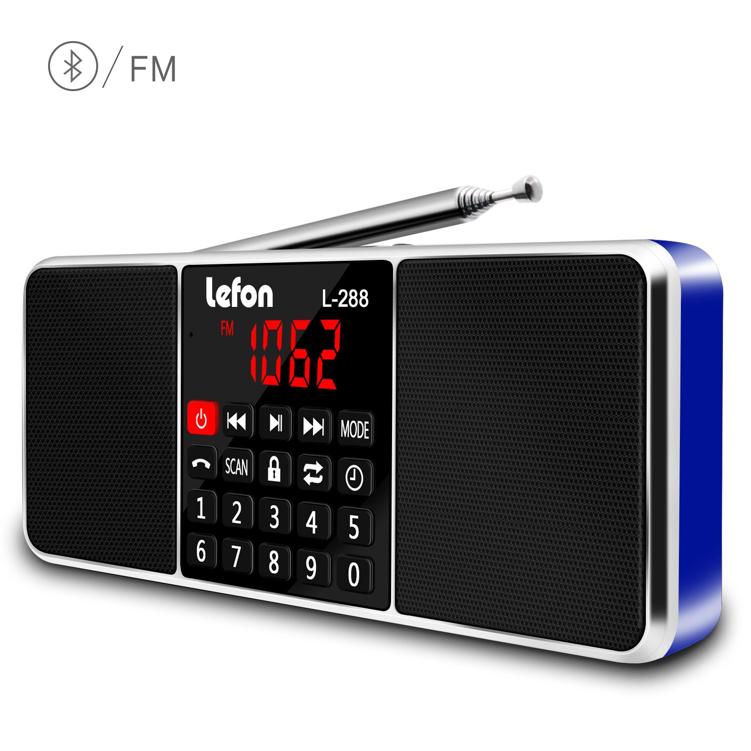 LEFON Multifunction Digital AM FM Radio Bluetooth Media Speaker MP3 Music Player Support TF Card/USB Disk with LED Screen Display and Setting Timing Shutdown Function (Blue-Upgraded Version)