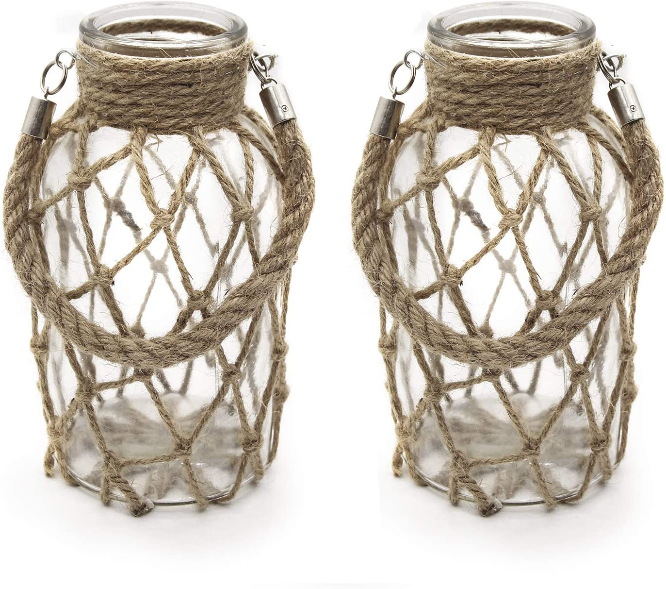 "FUNSOBA Rustic Hanging Mason Jar Creative Rope Net Dry Flower Glass Vase with Handle Pack of 2 (2 Vase 8"")"