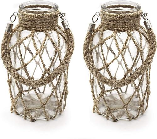 FUNSOBA Rustic Hanging Mason Jar Creative Rope Net Dry Flower Glass Vase with Handle Pack of 2 2 Vase 8