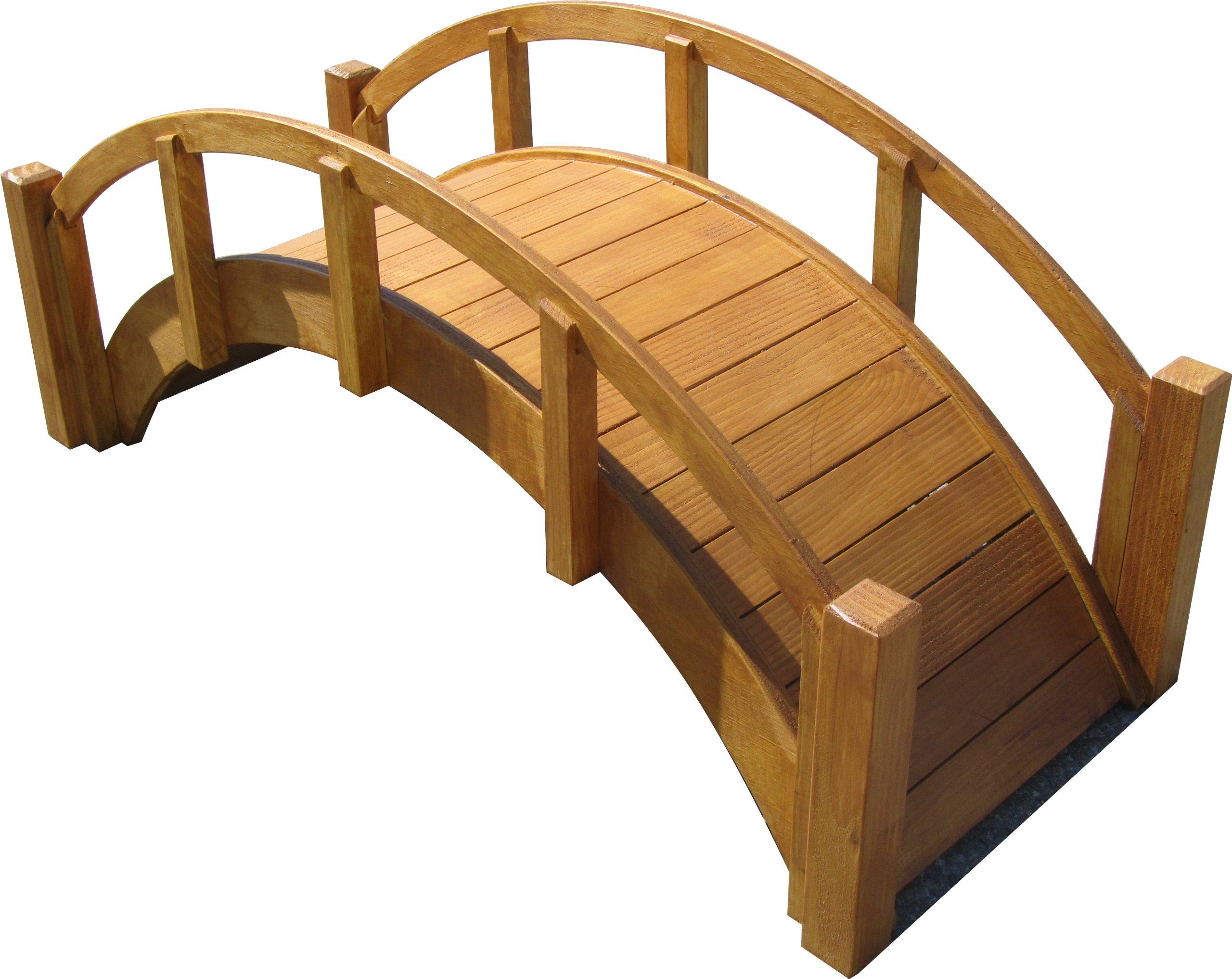 SamsGazebos Miniature Japanese Waterproof Wood Garden Bridge, 29-Inch, Tan