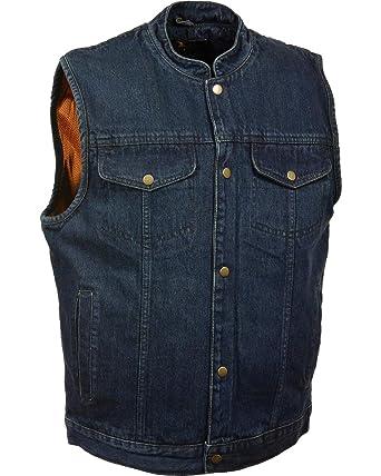 274f69d4dd988b Milwaukee Leather Men s Snap Front Denim Club Style Vest W Gun Pocket Big  3X Blue