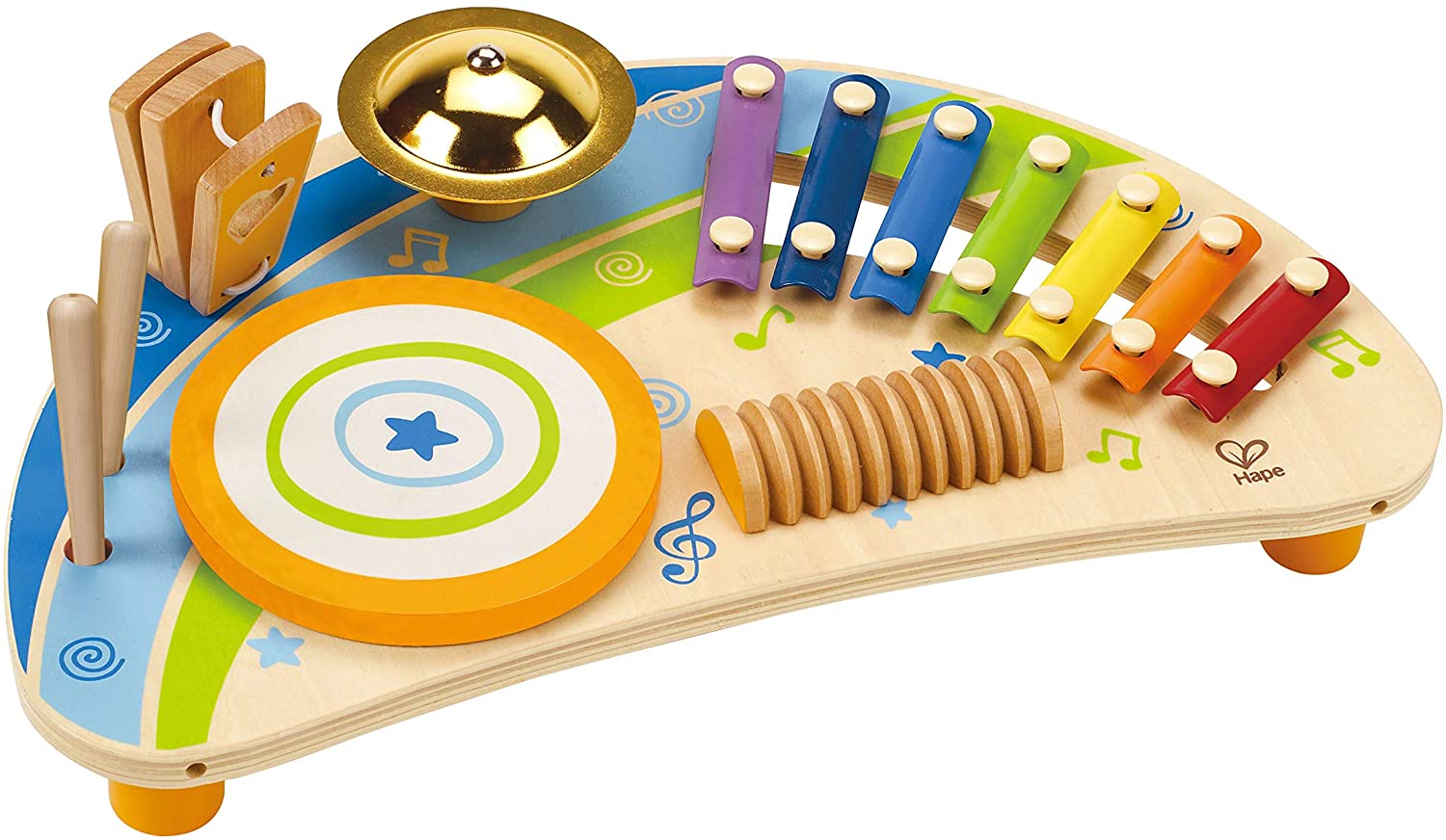 Preschool Toys: Hape Wooden Dollhouse Animals $8, Percussion Instrument